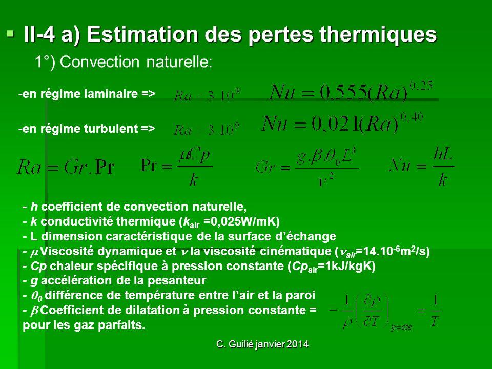 II-4 a) Estimation des pertes thermiques - h coefficient de convection naturelle, - k conductivité thermique (k air =0,025W/mK) - L dimension caractéristique de la surface déchange - V iscosité dynamique et la viscosité cinématique ( air =14.10 -6 m 2 /s) - Cp chaleur spécifique à pression constante (Cp air =1kJ/kgK) - g accélération de la pesanteur - 0 différence de température entre l air et la paroi - Coefficient de dilatation à pression constante = pour les gaz parfaits.