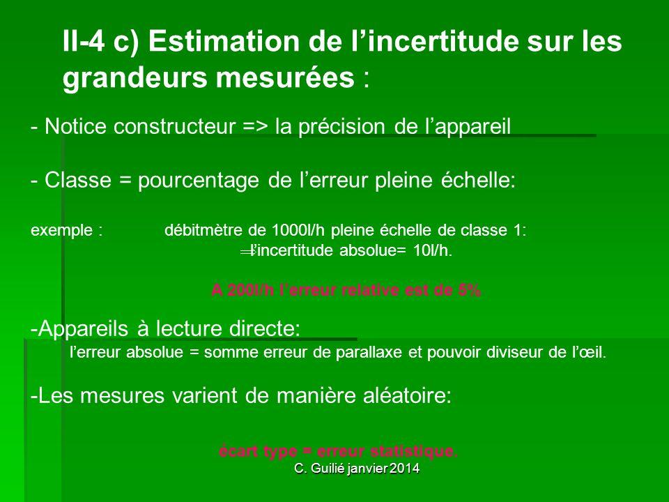 C. Guilié janvier 2014 II-4 c) Estimation de lincertitude sur les grandeurs mesurées : - N- Notice constructeur => la précision de lappareil - C- Clas