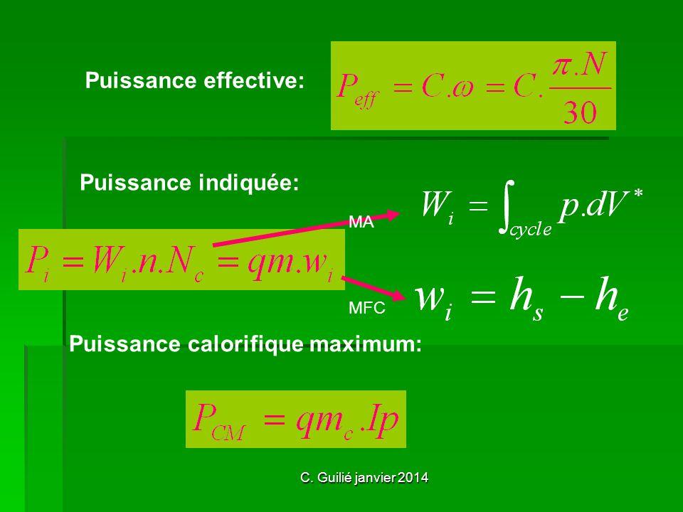 C. Guilié janvier 2014 Puissance effective: Puissance indiquée: Puissance calorifique maximum: MA MFC