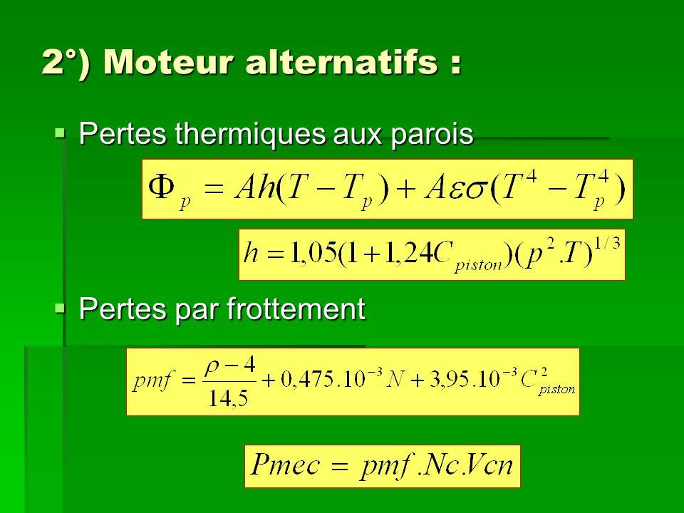 2°) Moteur alternatifs : Pertes thermiques aux parois Pertes par frottement