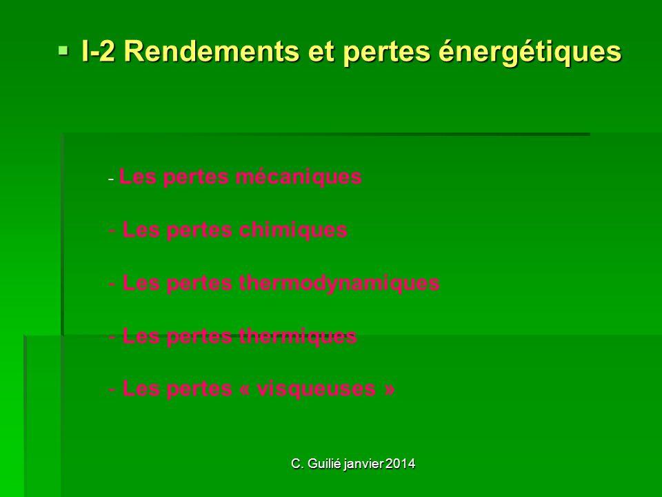 I-2 Rendements et pertes énergétiques - L- Les pertes mécaniques - Les pertes chimiques es pertes thermodynamiques es pertes thermiques es pertes « vi