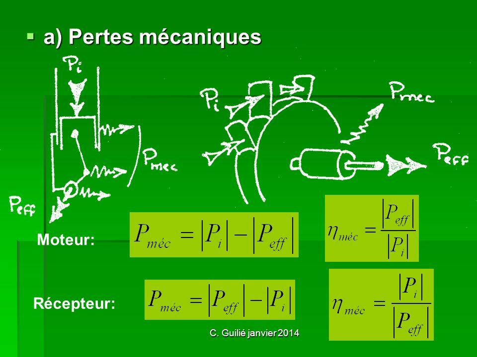 C. Guilié janvier 2014 a) Pertes mécaniques Moteur: Récepteur: