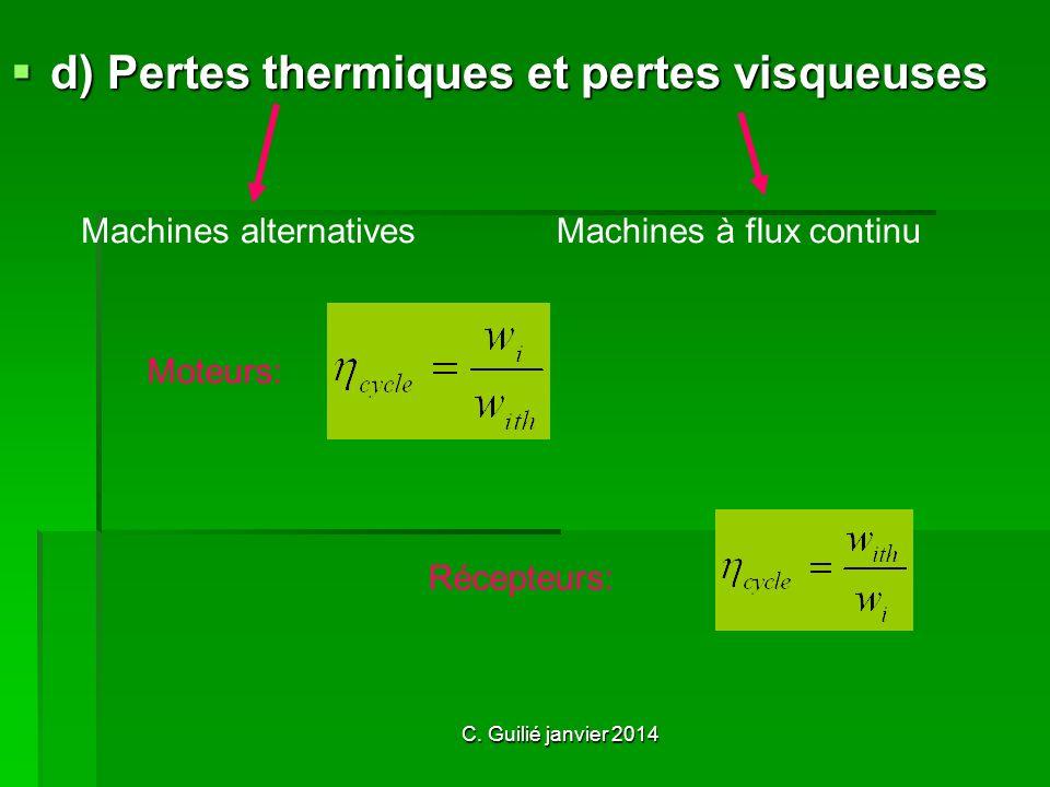 d) Pertes thermiques et pertes visqueuses Moteurs: Récepteurs: Machines alternativesMachines à flux continu