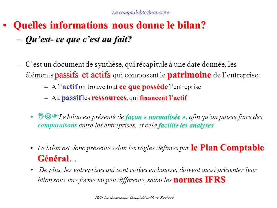 I&G- les documents Comptables-Mme Roulaud La comptabilité financière Quelles informations nous donne le bilan?Quelles informations nous donne le bilan