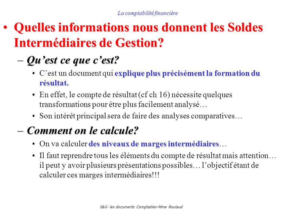 I&G- les documents Comptables-Mme Roulaud La comptabilité financière Quelles informations nous donnent les Soldes Intermédiaires de Gestion?Quelles in
