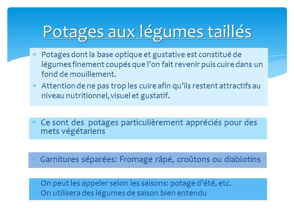 Potages dont la base optique et gustative est constitué de légumes finement coupés que lon fait revenir puis cuire dans un fond de mouillement. Attent
