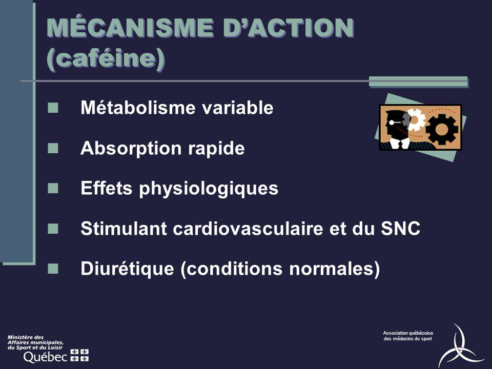 Association québécoise des médecins du sport MÉCANISME DACTION (caféine) Métabolisme variable Absorption rapide Effets physiologiques Stimulant cardiovasculaire et du SNC Diurétique (conditions normales)