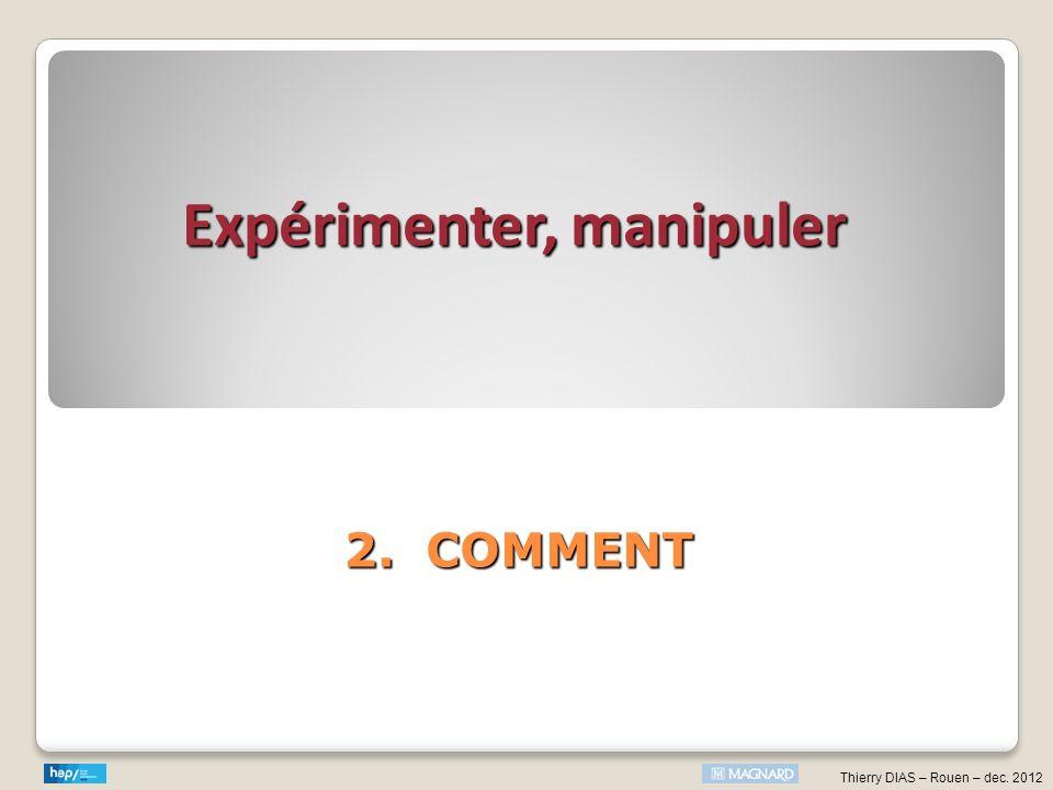 Thierry DIAS – Rouen – dec. 2012 2. COMMENT Expérimenter, manipuler