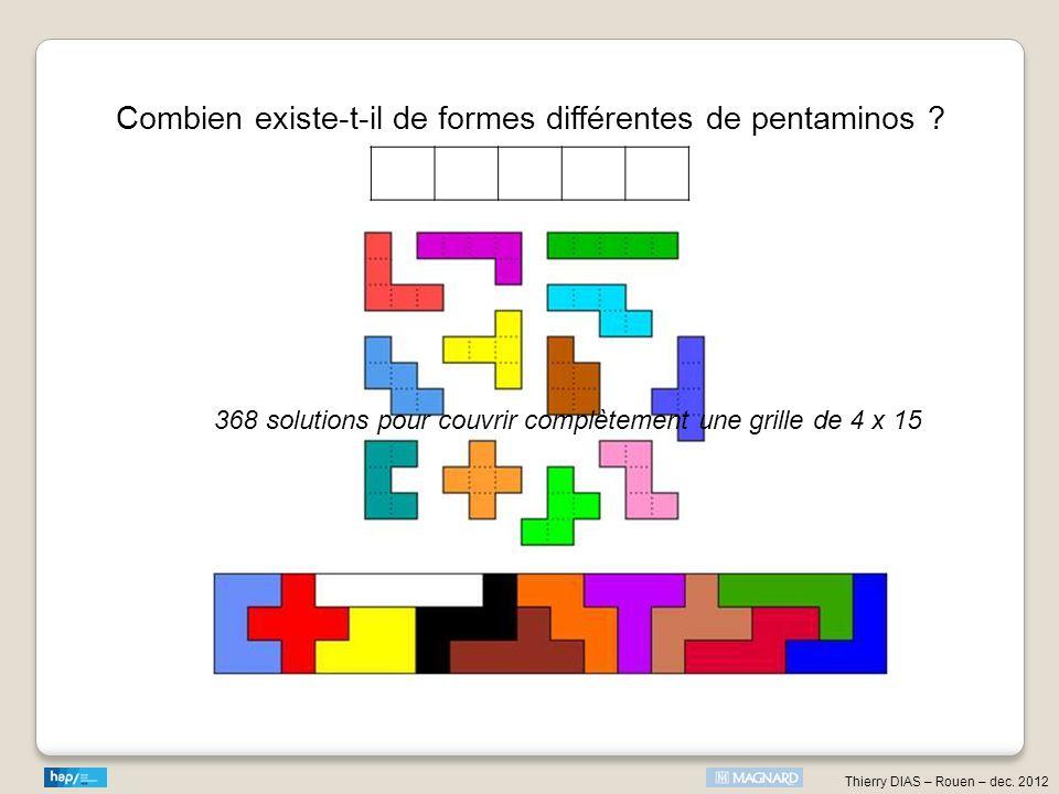 Thierry DIAS – Rouen – dec. 2012 Combien existe-t-il de formes différentes de pentaminos ? 368 solutions pour couvrir complètement une grille de 4 x 1