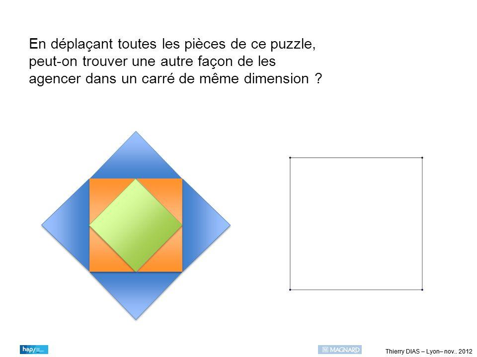 Thierry DIAS – Lyon– nov.. 2012 En déplaçant toutes les pièces de ce puzzle, peut-on trouver une autre façon de les agencer dans un carré de même dime