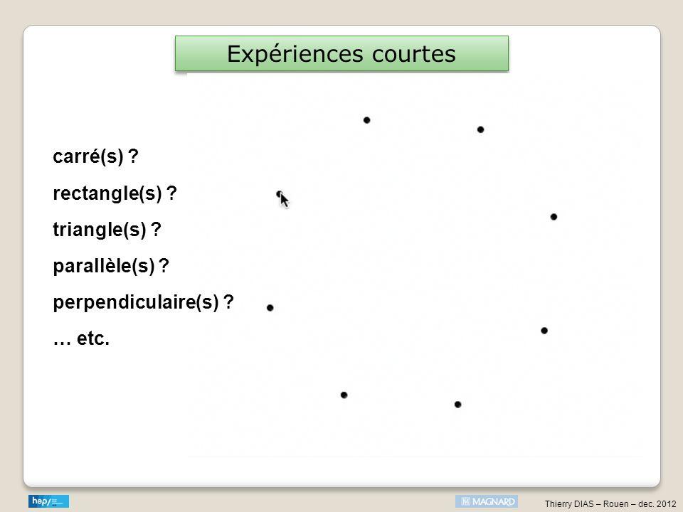 Thierry DIAS – Rouen – dec. 2012 Expériences courtes carré(s) ? rectangle(s) ? triangle(s) ? parallèle(s) ? perpendiculaire(s) ? … etc.