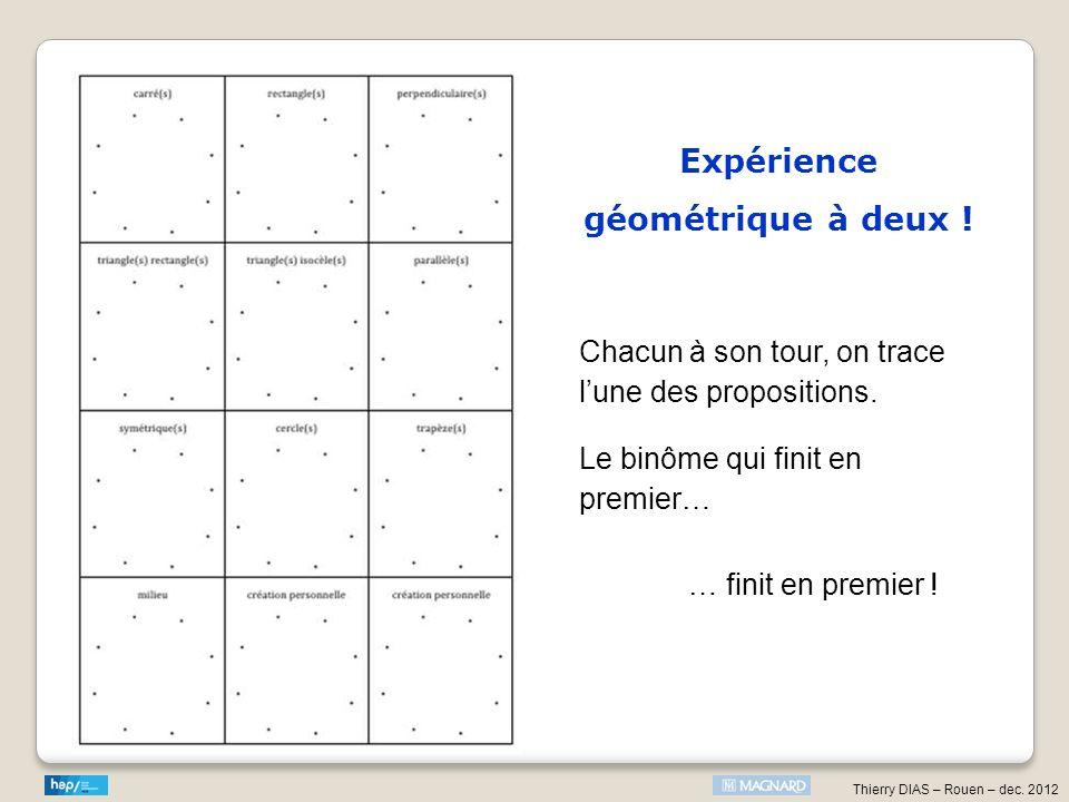 Thierry DIAS – Rouen – dec. 2012 Expérience géométrique à deux ! Chacun à son tour, on trace lune des propositions. Le binôme qui finit en premier… …