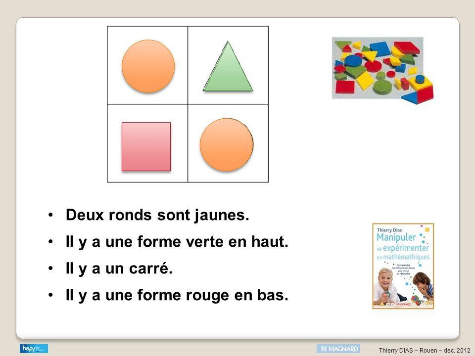 Thierry DIAS – Rouen – dec. 2012 Deux ronds sont jaunes. Il y a une forme verte en haut. Il y a un carré. Il y a une forme rouge en bas.