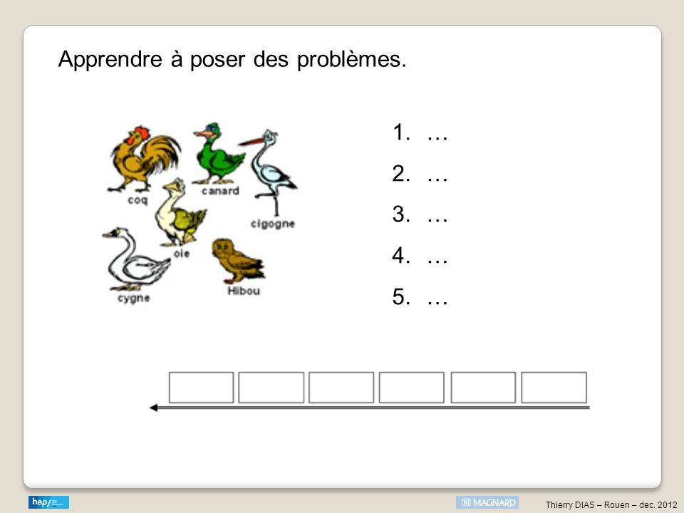Apprendre à poser des problèmes. 1.… 2.… 3.… 4.… 5.…