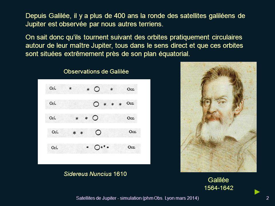 Satellites de Jupiter - simulation (phm Obs. Lyon mars 2014)2 Depuis Galilée, il y a plus de 400 ans la ronde des satellites galiléens de Jupiter est