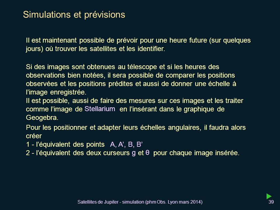 Satellites de Jupiter - simulation (phm Obs.