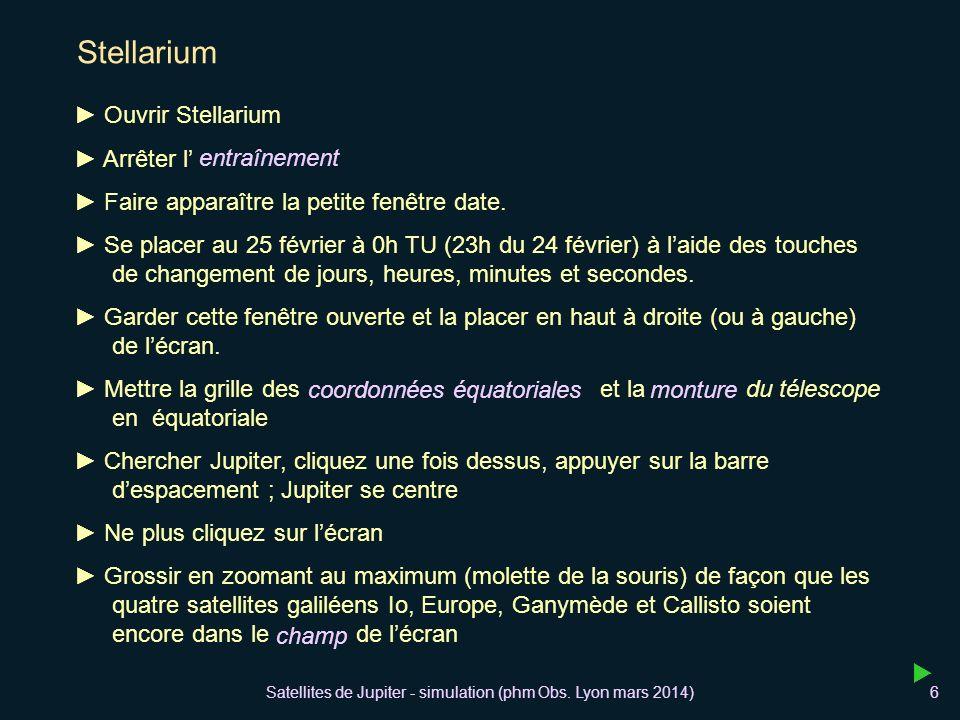 Satellites de Jupiter - simulation (phm Obs. Lyon mars 2014)6 Stellarium Ouvrir Stellarium Arrêter l Faire apparaître la petite fenêtre date. Se place