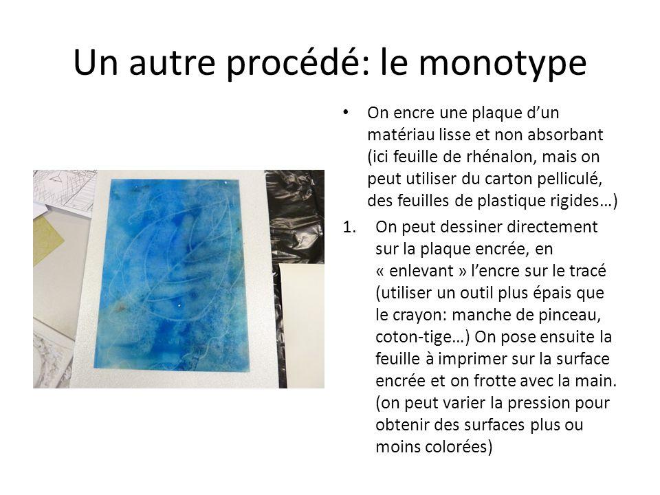 Un autre procédé: le monotype On encre une plaque dun matériau lisse et non absorbant (ici feuille de rhénalon, mais on peut utiliser du carton pellic