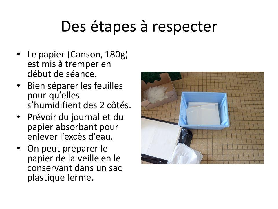 Des étapes à respecter Le papier (Canson, 180g) est mis à tremper en début de séance. Bien séparer les feuilles pour quelles shumidifient des 2 côtés.