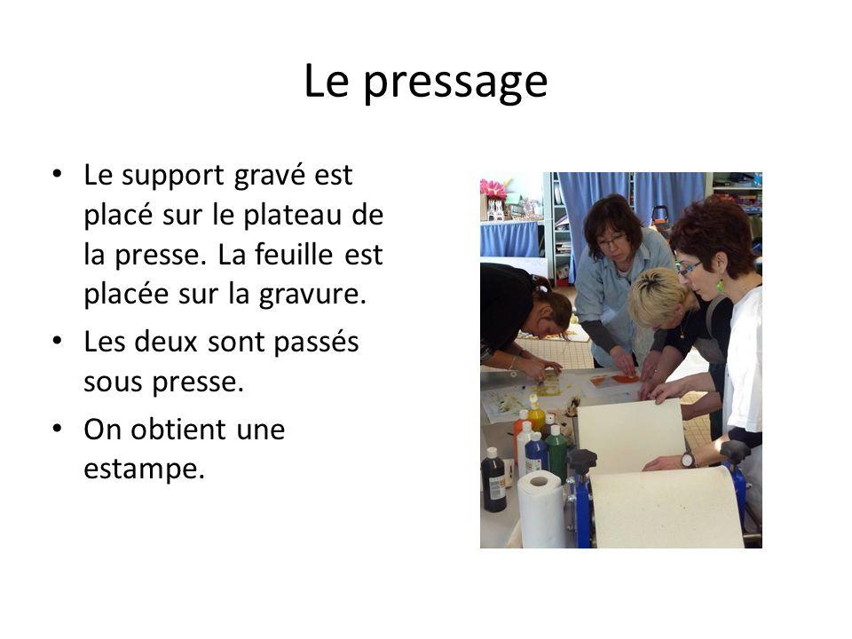 Le pressage Le support gravé est placé sur le plateau de la presse. La feuille est placée sur la gravure. Les deux sont passés sous presse. On obtient