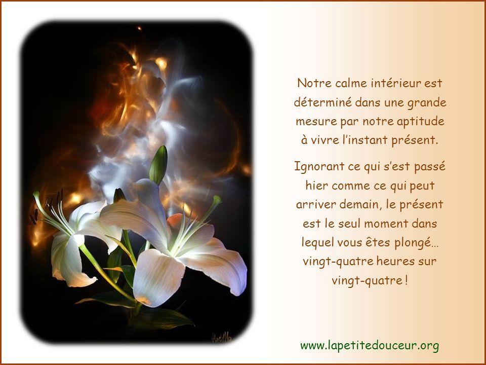 Notre calme intérieur est déterminé dans une grande mesure par notre aptitude à vivre linstant présent.