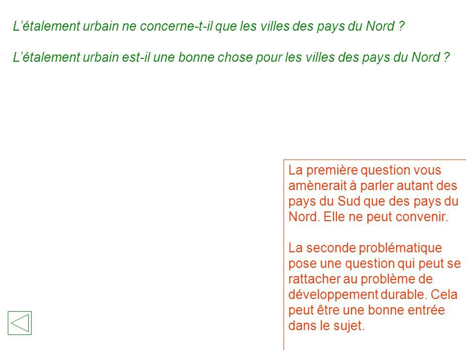 Létalement urbain ne concerne-t-il que les villes des pays du Nord .