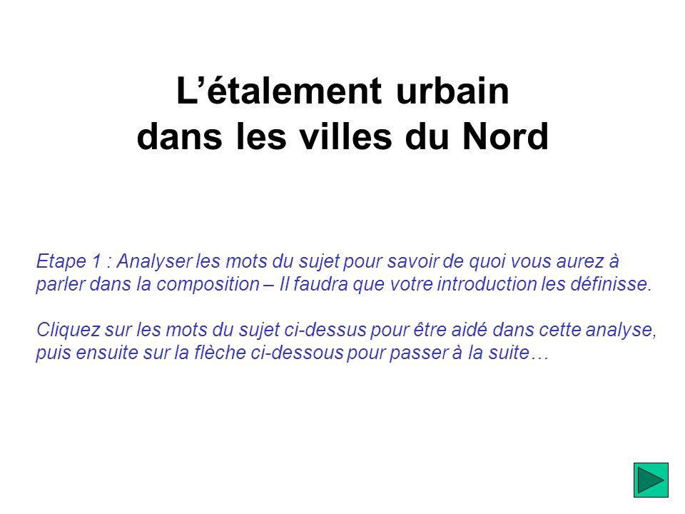Létalement urbain dans les villes du Nord Etape 1 : Analyser les mots du sujet pour savoir de quoi vous aurez à parler dans la composition – Il faudra que votre introduction les définisse.