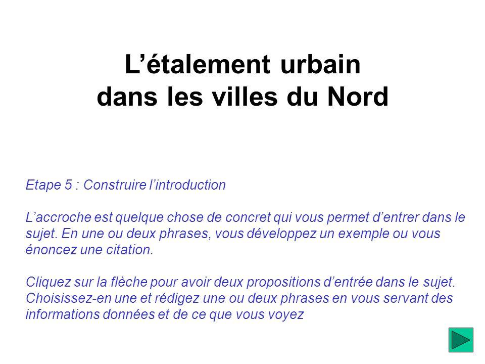 Létalement urbain dans les villes du Nord Etape 5 : Construire lintroduction Laccroche est quelque chose de concret qui vous permet dentrer dans le sujet.