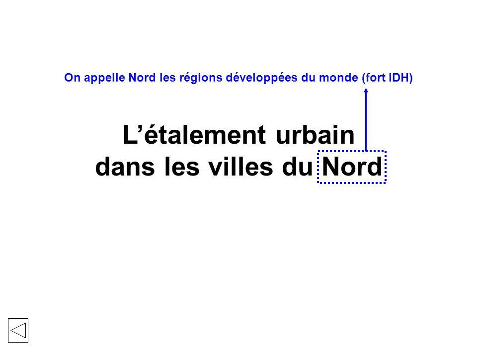 Létalement urbain dans les villes du Nord On appelle Nord les régions développées du monde (fort IDH)