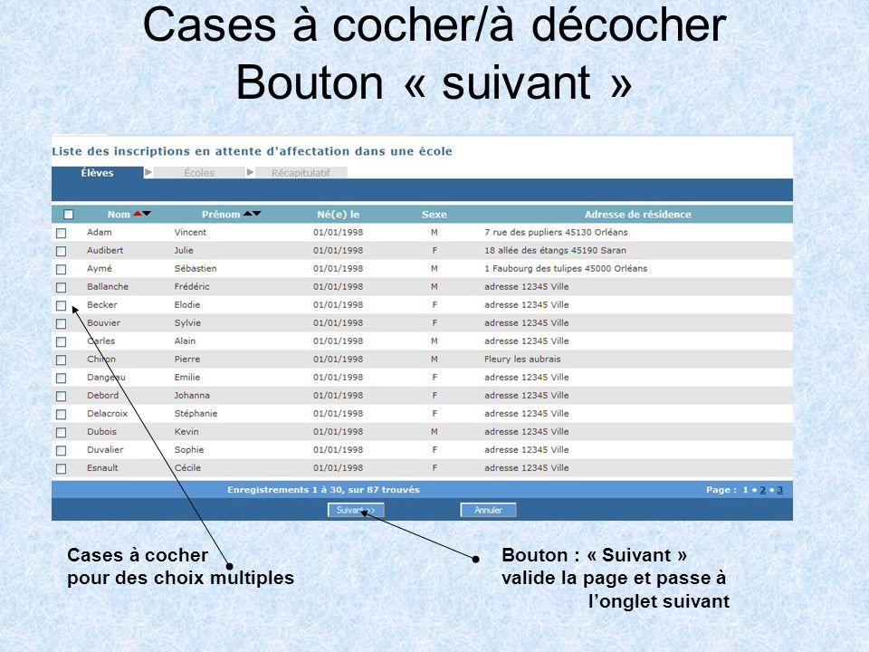 Bouton « validation » valide la page