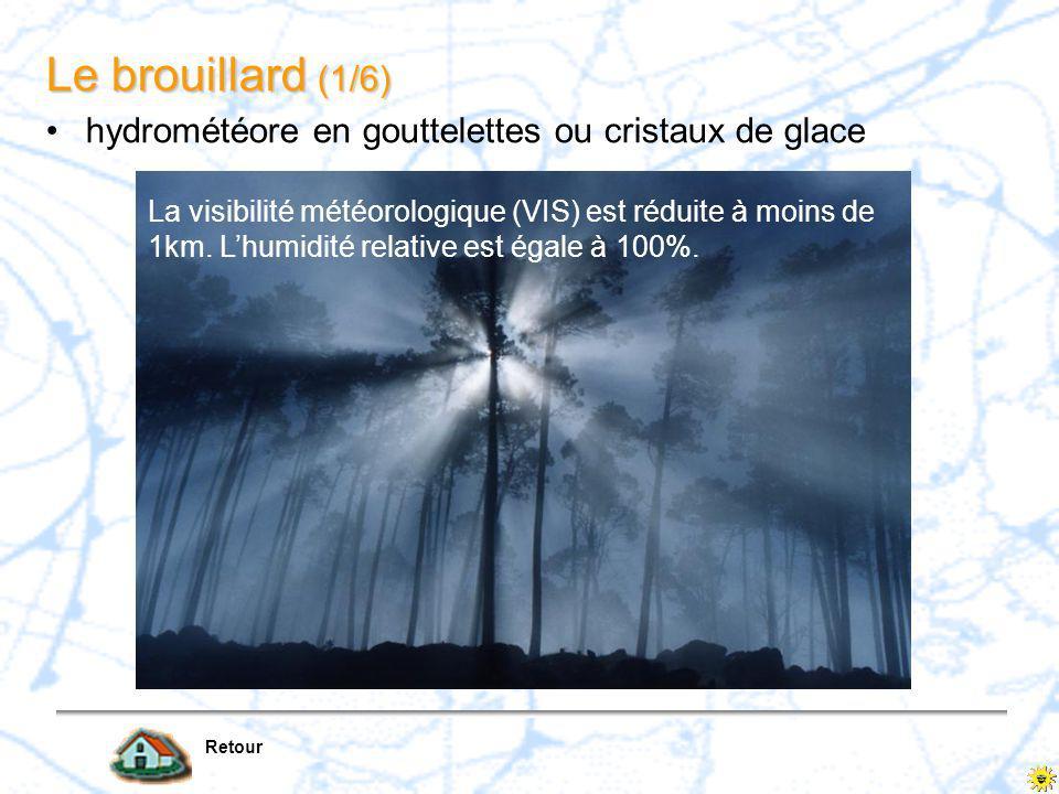 Retour La brume hydrométéore en gouttelettes ou cristaux de glace La visibilité météorologique (VIS) est réduite à moins de 5 km, mais reste supérieure ou égale à 1 km.