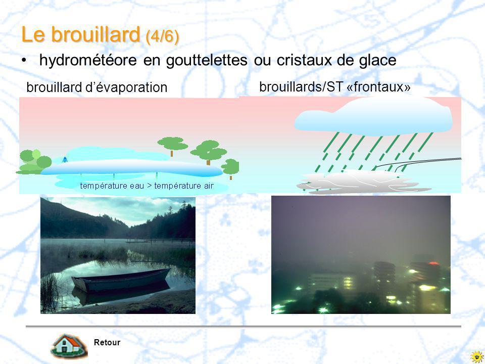 Le brouillard (3/6) Retour air humide advection marine avec la brise de mer niveau de condensation brouillard côtier brouillard de pente ascendance forcée impliquant une détente et un refroidissement hydrométéore en gouttelettes ou cristaux de glace