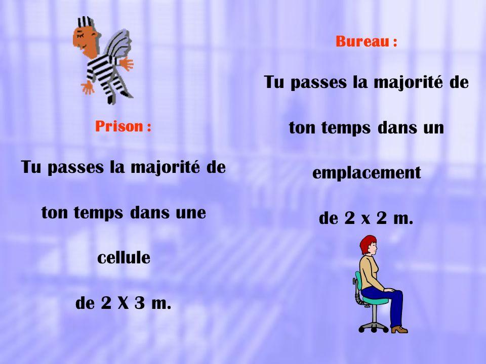 Prison : Tu passes la majorité de ton temps dans une cellule de 2 X 3 m. Bureau : Tu passes la majorité de ton temps dans un emplacement de 2 x 2 m.