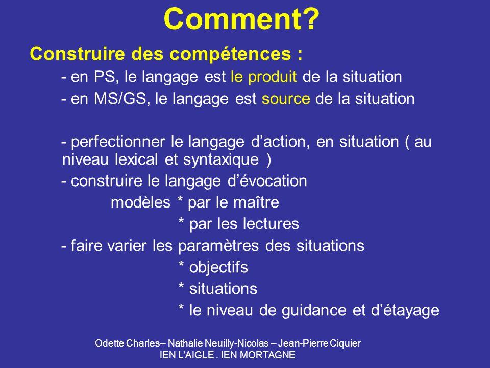 Odette Charles– Nathalie Neuilly-Nicolas – Jean-Pierre Ciquier IEN LAIGLE. IEN MORTAGNE Comment? Construire des compétences : - en PS, le langage est