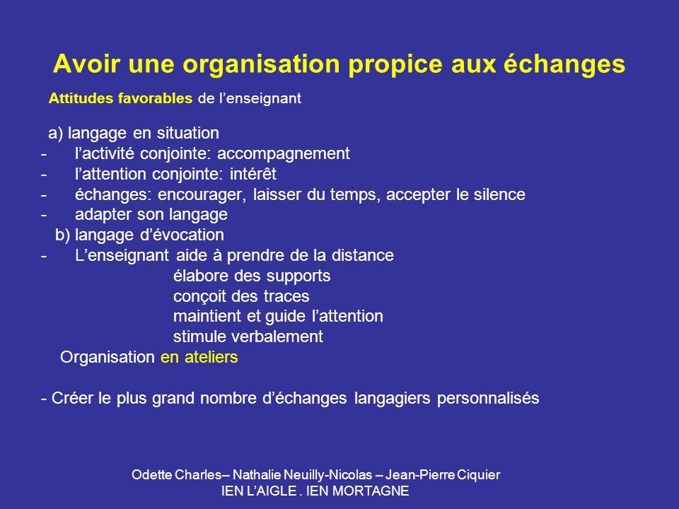 Odette Charles– Nathalie Neuilly-Nicolas – Jean-Pierre Ciquier IEN LAIGLE. IEN MORTAGNE Avoir une organisation propice aux échanges Attitudes favorabl