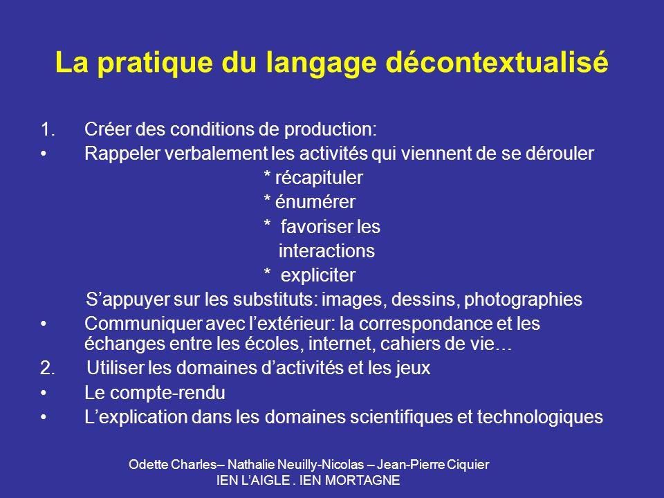 Odette Charles– Nathalie Neuilly-Nicolas – Jean-Pierre Ciquier IEN LAIGLE. IEN MORTAGNE La pratique du langage décontextualisé 1.Créer des conditions
