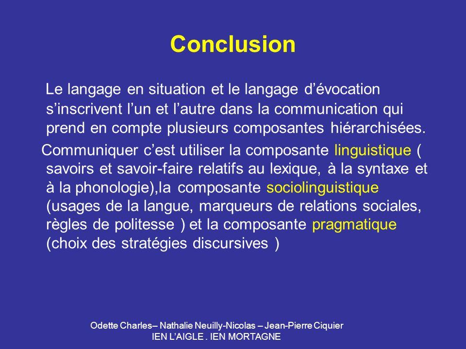 Odette Charles– Nathalie Neuilly-Nicolas – Jean-Pierre Ciquier IEN LAIGLE. IEN MORTAGNE Conclusion Le langage en situation et le langage dévocation si