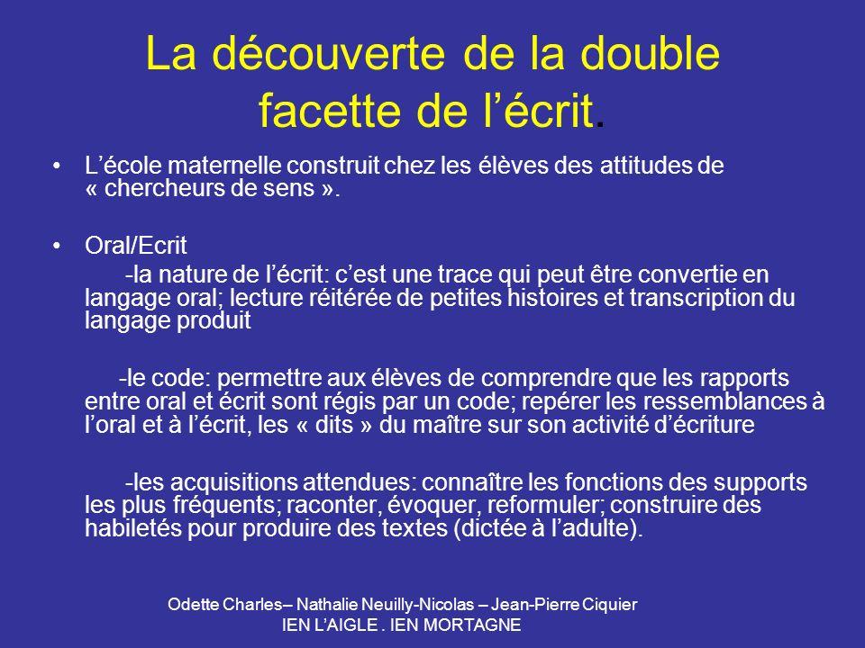 Odette Charles– Nathalie Neuilly-Nicolas – Jean-Pierre Ciquier IEN LAIGLE. IEN MORTAGNE La découverte de la double facette de lécrit. Lécole maternell