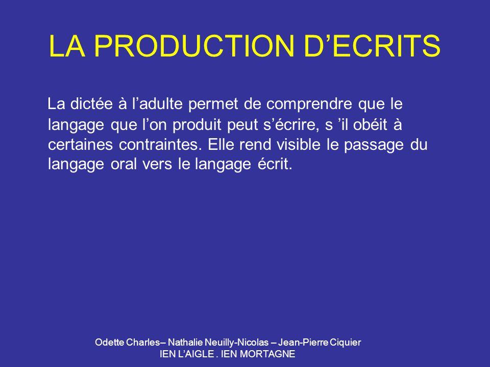 Odette Charles– Nathalie Neuilly-Nicolas – Jean-Pierre Ciquier IEN LAIGLE. IEN MORTAGNE LA PRODUCTION DECRITS La dictée à ladulte permet de comprendre