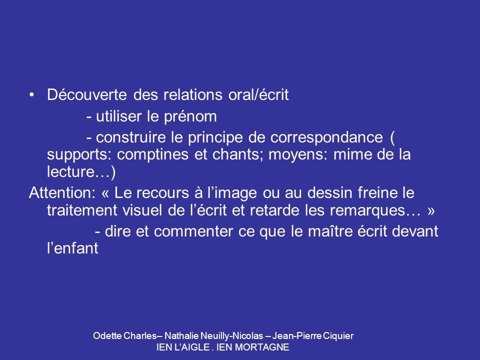 Odette Charles– Nathalie Neuilly-Nicolas – Jean-Pierre Ciquier IEN LAIGLE. IEN MORTAGNE Découverte des relations oral/écrit - utiliser le prénom - con
