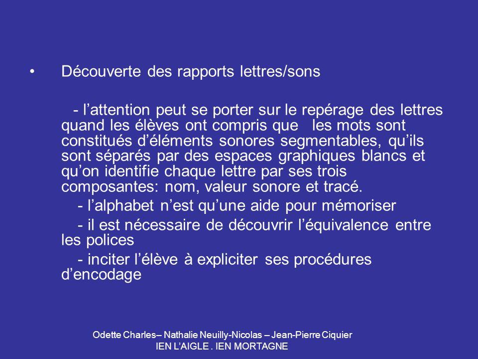 Odette Charles– Nathalie Neuilly-Nicolas – Jean-Pierre Ciquier IEN LAIGLE. IEN MORTAGNE Découverte des rapports lettres/sons - lattention peut se port