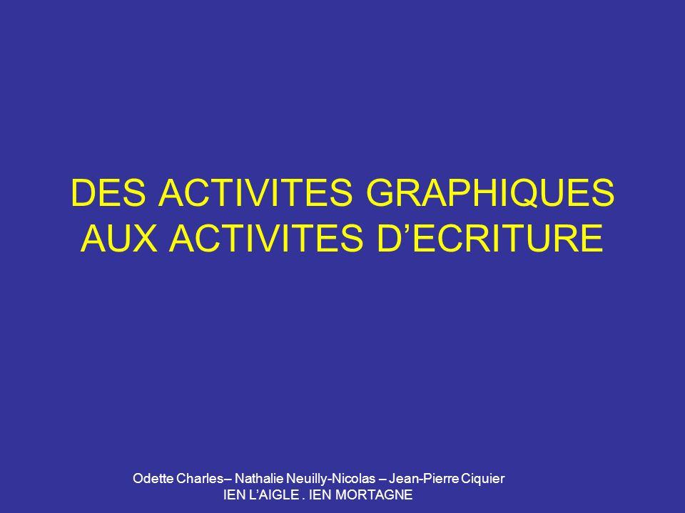 Odette Charles– Nathalie Neuilly-Nicolas – Jean-Pierre Ciquier IEN LAIGLE. IEN MORTAGNE DES ACTIVITES GRAPHIQUES AUX ACTIVITES DECRITURE