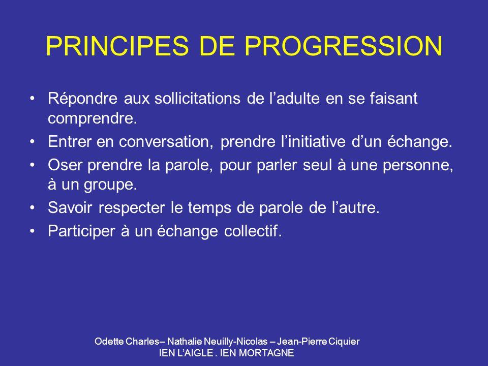 Odette Charles– Nathalie Neuilly-Nicolas – Jean-Pierre Ciquier IEN LAIGLE. IEN MORTAGNE PRINCIPES DE PROGRESSION Répondre aux sollicitations de ladult