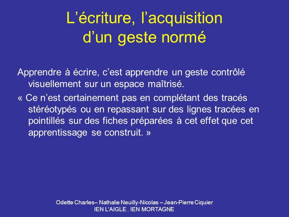 Odette Charles– Nathalie Neuilly-Nicolas – Jean-Pierre Ciquier IEN LAIGLE. IEN MORTAGNE Lécriture, lacquisition dun geste normé Apprendre à écrire, ce