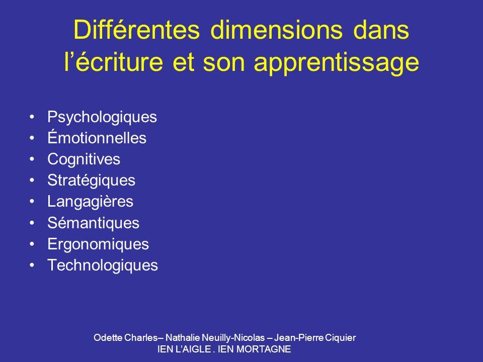 Odette Charles– Nathalie Neuilly-Nicolas – Jean-Pierre Ciquier IEN LAIGLE. IEN MORTAGNE Différentes dimensions dans lécriture et son apprentissage Psy