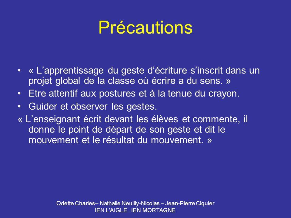 Odette Charles– Nathalie Neuilly-Nicolas – Jean-Pierre Ciquier IEN LAIGLE. IEN MORTAGNE Précautions « Lapprentissage du geste décriture sinscrit dans