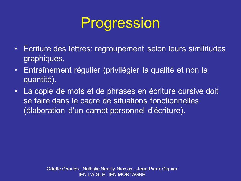 Odette Charles– Nathalie Neuilly-Nicolas – Jean-Pierre Ciquier IEN LAIGLE. IEN MORTAGNE Progression Ecriture des lettres: regroupement selon leurs sim