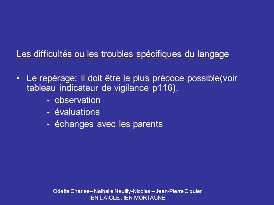 Odette Charles– Nathalie Neuilly-Nicolas – Jean-Pierre Ciquier IEN LAIGLE. IEN MORTAGNE Les difficultés ou les troubles spécifiques du langage Le repé