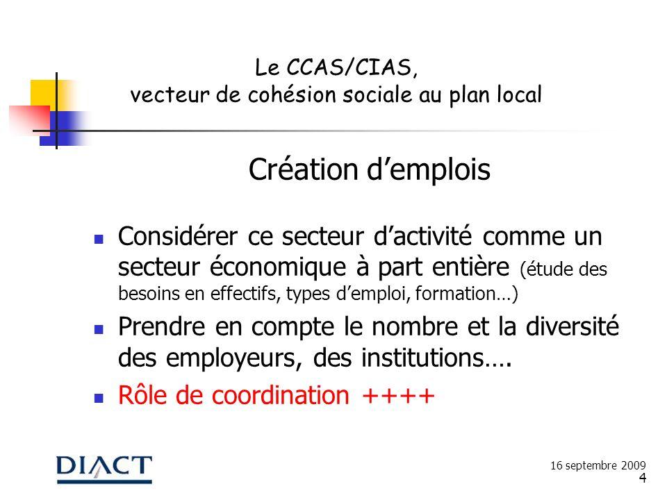 4 Création demplois Considérer ce secteur dactivité comme un secteur économique à part entière (étude des besoins en effectifs, types demploi, formati