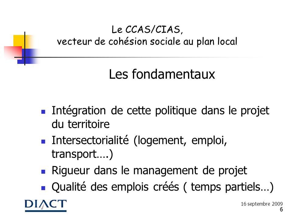 6 Les fondamentaux Intégration de cette politique dans le projet du territoire Intersectorialité (logement, emploi, transport….) Rigueur dans le manag